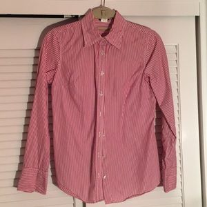 JCrew striped tapered long sleeve oxford shirt